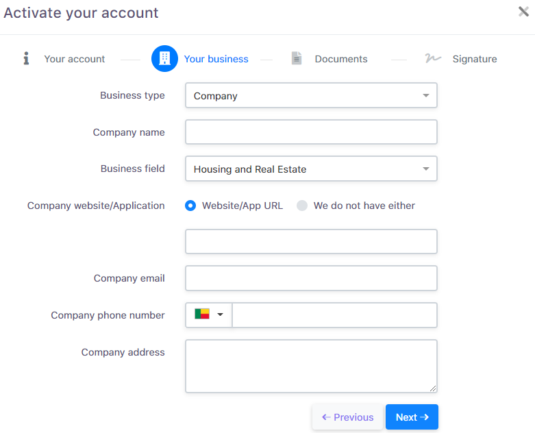 Account activation form