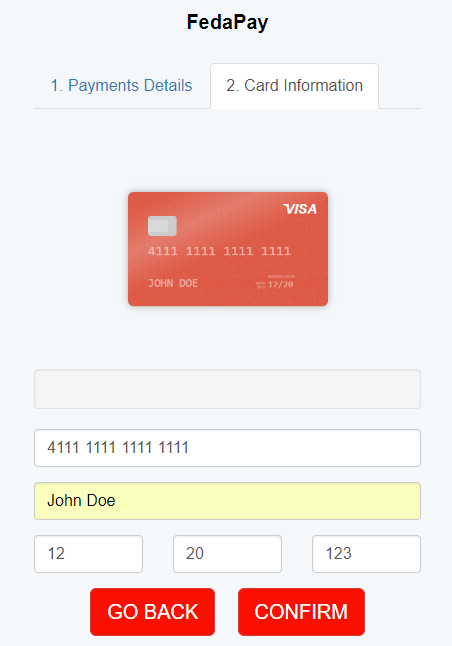 Credit card information provided